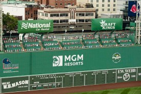 BOSTON, MA - AUGUST 7: Cardboard cutout fans are displayed on the Green Monster seats before a game between the Boston Red Sox and the Toronto Blue Jays on August 7, 2020 at Fenway Park in Boston, Massachusetts. The 2020 season had been postponed since March due to the COVID-19 pandemic. (Photo by Billie Weiss/Boston Red Sox/Getty Images) *** Local Caption ***