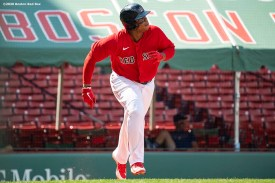 BOSTON, MA - AUGUST 9: Rafael Devers #11 of the Boston Red Sox rounds the bases after hitting a solo home run during the sixth inning of a game against the Toronto Blue Jays on August 9, 2020 at Fenway Park in Boston, Massachusetts. The 2020 season had been postponed since March due to the COVID-19 pandemic. (Photo by Billie Weiss/Boston Red Sox/Getty Images) *** Local Caption *** Rafael Devers