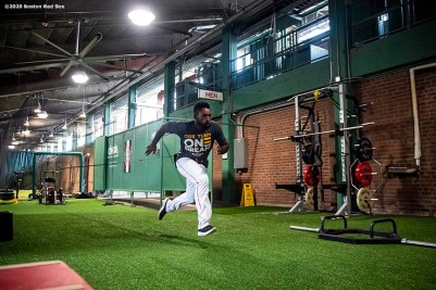 BOSTON, MA - AUGUST 10: Jackie Bradley Jr. #19 of the Boston Red Sox runs sprints in the auxiliary weight room in the concourse before a game against the Tampa Bay Rays on August 10, 2020 at Fenway Park in Boston, Massachusetts. The 2020 season had been postponed since March due to the COVID-19 pandemic. (Photo by Billie Weiss/Boston Red Sox/Getty Images) *** Local Caption *** Jackie Bradley Jr.