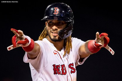 BOSTON, MA - AUGUST 10: Jonathan Arauz #36 of the Boston Red Sox reacts after hitting an RBI single during the eighth inning of a game against the Tampa Bay Rays on August 10, 2020 at Fenway Park in Boston, Massachusetts. The 2020 season had been postponed since March due to the COVID-19 pandemic. (Photo by Billie Weiss/Boston Red Sox/Getty Images) *** Local Caption *** Jonathan Arauz