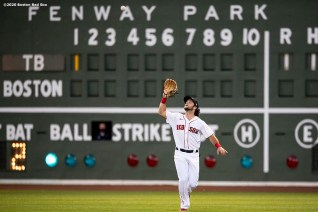 BOSTON, MA - AUGUST 11: Andrew Benintendi #16 of the Boston Red Sox catches a fly ball during the first inning of a game against the Tampa Bay Rays on August 11, 2020 at Fenway Park in Boston, Massachusetts. The 2020 season had been postponed since March due to the COVID-19 pandemic. (Photo by Billie Weiss/Boston Red Sox/Getty Images) *** Local Caption *** Andrew Benintendi