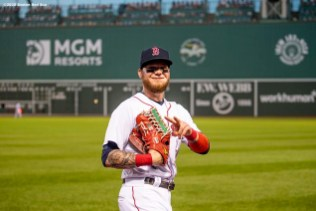 BOSTON, MA - AUGUST 11: Alex Verdugo #99 of the Boston Red Sox reacts during the second inning of a game against the Tampa Bay Rays on August 11, 2020 at Fenway Park in Boston, Massachusetts. The 2020 season had been postponed since March due to the COVID-19 pandemic. (Photo by Billie Weiss/Boston Red Sox/Getty Images) *** Local Caption *** Alex Verdugo