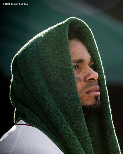 BOSTON, MA - AUGUST 19: Xander Bogaerts #2 of the Boston Red Sox looks on during the eighth inning of a game against the Philadelphia Phillies on August 19, 2020 at Fenway Park in Boston, Massachusetts. The 2020 season had been postponed since March due to the COVID-19 pandemic. (Photo by Billie Weiss/Boston Red Sox/Getty Images) *** Local Caption *** Xander Bogaerts