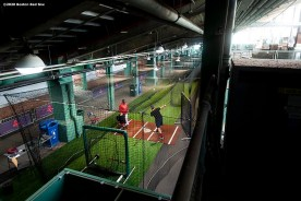 BOSTON, MA - AUGUST 28: Mitch Moreland #18 of the Boston Red Sox takes batting practice in the auxiliary concourse batting cage before a game against the Washington Nationals on August 28, 2020 at Fenway Park in Boston, Massachusetts. The 2020 season had been postponed since March due to the COVID-19 pandemic. (Photo by Billie Weiss/Boston Red Sox/Getty Images) *** Local Caption *** Mitch Moreland
