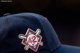 BOSTON, MA - AUGUST 28: A 42 patch is displayed on a hat in recognition of Jackie Robinson Day before a game between the Boston Red Sox and the Washington Nationals on August 28, 2020 at Fenway Park in Boston, Massachusetts. The 2020 season had been postponed since March due to the COVID-19 pandemic. (Photo by Billie Weiss/Boston Red Sox/Getty Images) *** Local Caption ***