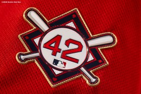BOSTON, MA - AUGUST 28: A jersey patch is displayed in recognition of Jackie Robinson day before a game between the Boston Red Sox and the Washington Nationals on August 28, 2020 at Fenway Park in Boston, Massachusetts. The 2020 season had been postponed since March due to the COVID-19 pandemic. (Photo by Billie Weiss/Boston Red Sox/Getty Images) *** Local Caption ***