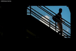 BOSTON, MA - AUGUST 30: A member of the Boston Red Sox walks toward the field before a game against the Washington Nationals on August 30, 2020 at Fenway Park in Boston, Massachusetts. The 2020 season had been postponed since March due to the COVID-19 pandemic. (Photo by Billie Weiss/Boston Red Sox/Getty Images) *** Local Caption ***