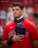 BOSTON, MA - AUGUST 30: Bobby Dalbec #42 of the Boston Red Sox looks on before making his Major League Baseball debut during game against the Washington Nationals on August 30, 2020 at Fenway Park in Boston, Massachusetts. The 2020 season had been postponed since March due to the COVID-19 pandemic. (Photo by Billie Weiss/Boston Red Sox/Getty Images) *** Local Caption *** Bobby Dalbec