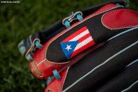 BOSTON, MA - AUGUST 31: The glove of Christian Vazquez #7 of the Boston Red Sox is shown before a game against the Atlanta Braves on August 31, 2020 at Fenway Park in Boston, Massachusetts. The 2020 season had been postponed since March due to the COVID-19 pandemic. (Photo by Billie Weiss/Boston Red Sox/Getty Images) *** Local Caption *** Christian Vazquez