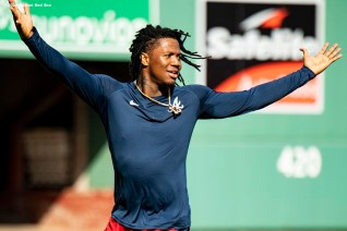 BOSTON, MA - SEPTEMBER 1: Ronald Acuna Jr. #13 of the Atlanta Braves reacts before a game against the Boston Red Sox on September 1, 2020 at Fenway Park in Boston, Massachusetts. The 2020 season had been postponed since March due to the COVID-19 pandemic. (Photo by Billie Weiss/Boston Red Sox/Getty Images) *** Local Caption *** Ronald Acuna Jr.