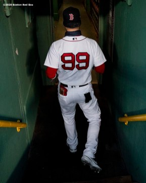 BOSTON, MA - SEPTEMBER 1: Alex Verdugo #99 of the Boston Red Sox walks into the tunnel before game against the Atlanta Braves on September 1, 2020 at Fenway Park in Boston, Massachusetts. The 2020 season had been postponed since March due to the COVID-19 pandemic. (Photo by Billie Weiss/Boston Red Sox/Getty Images) *** Local Caption *** Alex Verdugo