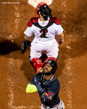 BOSTON, MA - SEPTEMBER 1: Marcell Ozuna #20 of the Atlanta Braves reacts after hitting a solo home run during the seventh inning of a game against the Boston Red Sox on September 1, 2020 at Fenway Park in Boston, Massachusetts. It was his second home run of the game. The 2020 season had been postponed since March due to the COVID-19 pandemic. (Photo by Billie Weiss/Boston Red Sox/Getty Images) *** Local Caption *** Marcell Ozuna