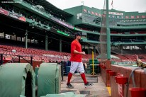 BOSTON, MA - SEPTEMBER 2: Zack Godley #68 of the Boston Red Sox walks onto the field before a game against the Atlanta Braves on September 2, 2020 at Fenway Park in Boston, Massachusetts. The 2020 season had been postponed since March due to the COVID-19 pandemic. (Photo by Billie Weiss/Boston Red Sox/Getty Images) *** Local Caption *** Zack Godley