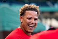 BOSTON, MA - SEPTEMBER 4: Yairo Munoz #60 of the Boston Red Sox reacts after hitting a two run home run during the second inning of a game against the Toronto Blue Jays on September 4, 2020 at Fenway Park in Boston, Massachusetts. The 2020 season had been postponed since March due to the COVID-19 pandemic. (Photo by Billie Weiss/Boston Red Sox/Getty Images) *** Local Caption *** Yairo Munoz