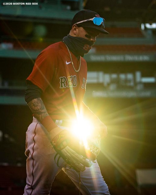 BOSTON, MA - SEPTEMBER 4: Alex Verdugo #99 of the Boston Red Sox walks onto the field during the ninth inning of a game against the Toronto Blue Jays on September 4, 2020 at Fenway Park in Boston, Massachusetts. The 2020 season had been postponed since March due to the COVID-19 pandemic. (Photo by Billie Weiss/Boston Red Sox/Getty Images) *** Local Caption *** Alex Verdugo