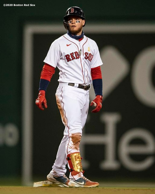BOSTON, MA - SEPTEMBER 5: Alex Verdugo #99 of the Boston Red Sox reacts after hitting a double during the fourth inning of a game against the Toronto Blue Jays on September 5, 2020 at Fenway Park in Boston, Massachusetts. The 2020 season had been postponed since March due to the COVID-19 pandemic. (Photo by Billie Weiss/Boston Red Sox/Getty Images) *** Local Caption *** Alex Verdugo
