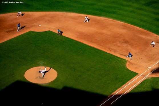 BOSTON, MA - SEPTEMBER 6: A general view of the infield during the sixth inning of a game between the Boston Red Sox and the Toronto Blue Jays on September 6, 2020 at Fenway Park in Boston, Massachusetts. The 2020 season had been postponed since March due to the COVID-19 pandemic. (Photo by Billie Weiss/Boston Red Sox/Getty Images) *** Local Caption ***