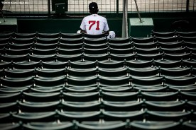 BOSTON, MA - SEPTEMBER 6: Phillips Valdez #71 of the Boston Red Sox looks on in the bullpen during the seventh inning of a game against the Toronto Blue Jays on September 6, 2020 at Fenway Park in Boston, Massachusetts. The 2020 season had been postponed since March due to the COVID-19 pandemic. (Photo by Billie Weiss/Boston Red Sox/Getty Images) *** Local Caption *** Phillips Valdez