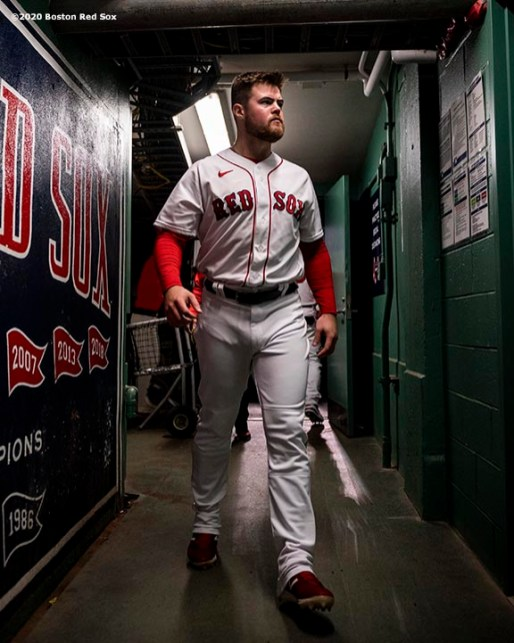 BOSTON, MA - SEPTEMBER 18: Christian Arroyo #39 of the Boston Red Sox walks through the tunnel before a game against the New York Yankees on September 18, 2020 at Fenway Park in Boston, Massachusetts. The 2020 season had been postponed since March due to the COVID-19 pandemic. (Photo by Billie Weiss/Boston Red Sox/Getty Images) *** Local Caption *** Christian Arroyo