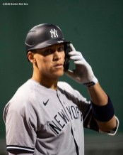 BOSTON, MA - SEPTEMBER 19: Aaron Judge #99 of the New York Yankees looks on during the fourth inning of a game against the New York Yankees on September 19, 2020 at Fenway Park in Boston, Massachusetts. The 2020 season had been postponed since March due to the COVID-19 pandemic. (Photo by Billie Weiss/Boston Red Sox/Getty Images) *** Local Caption *** Aaron Judge