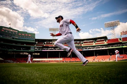 BOSTON, MA - SEPTEMBER 20: J.D. Martinez #28 of the Boston Red Sox warms up before a game against the New York Yankees on September 20, 2020 at Fenway Park in Boston, Massachusetts. The 2020 season had been postponed since March due to the COVID-19 pandemic. (Photo by Billie Weiss/Boston Red Sox/Getty Images) *** Local Caption *** J.D. Martinez