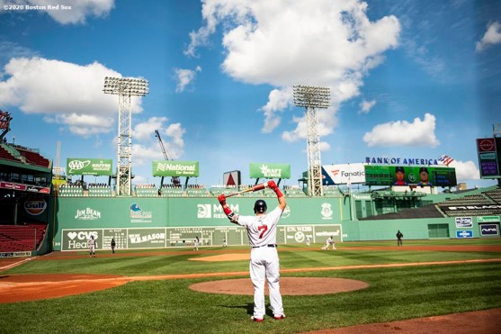 BOSTON, MA - SEPTEMBER 20: Christian Vazquez #7 of the Boston Red Sox warms up on deck during the first inning of a game against the New York Yankees on September 20, 2020 at Fenway Park in Boston, Massachusetts. The 2020 season had been postponed since March due to the COVID-19 pandemic. (Photo by Billie Weiss/Boston Red Sox/Getty Images) *** Local Caption *** Christian Vazquez