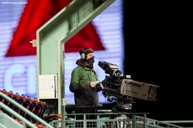 BOSTON, MA - SEPTEMBER 22: A camera operator works during a game between the Boston Red Sox and the Baltimore Orioles on September 22, 2020 at Fenway Park in Boston, Massachusetts. The 2020 season had been postponed since March due to the COVID-19 pandemic. (Photo by Billie Weiss/Boston Red Sox/Getty Images) *** Local Caption ***