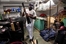 BOSTON, MA - SEPTEMBER 23: Jackie Bradley Jr. #19 of the Boston Red Sox wears a mask as he collects his bats before a game against the Baltimore Orioles on September 23, 2020 at Fenway Park in Boston, Massachusetts. The 2020 season had been postponed since March due to the COVID-19 pandemic. (Photo by Billie Weiss/Boston Red Sox/Getty Images) *** Local Caption *** Jackie Bradley Jr.
