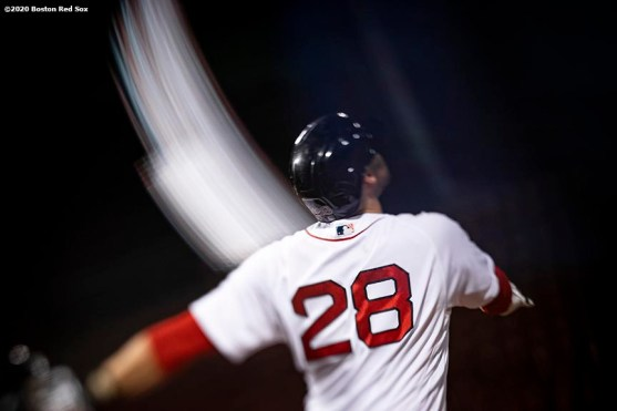 BOSTON, MA - SEPTEMBER 23: J.D. Martinez #28 of the Boston Red Sox bats during the second inning of a game against the Baltimore Orioles on September 23, 2020 at Fenway Park in Boston, Massachusetts. The 2020 season had been postponed since March due to the COVID-19 pandemic. (Photo by Billie Weiss/Boston Red Sox/Getty Images) *** Local Caption *** J.D. Martinez