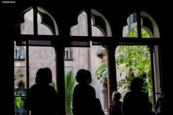 """Guests visit a gallery during a Free Fun Friday event sponsored by the Highland Street Foundation at the Isabella Stewart Gardner Museum in Boston, Massachusetts Friday, August 1, 2014."""