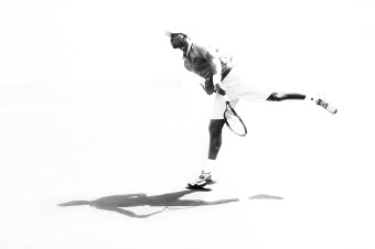 """Donald Young in action against Jeremy Chardy during their match at the Indian Wells Tennis Garden in Indian Wells, California on Sunday, March 15, 2015."""