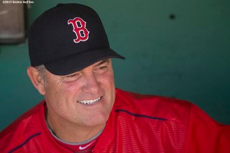 """Boston Red Sox manager John Farrell smiles before a game against the Washington Nationals at Fenway Park in Boston, Massachusetts Wednesday, April 15, 2015."""
