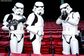 """""""Storm Troopers pose for a group photograph during Star Wars Night at Fenway Park in Boston, Massachusetts Monday, May 4, 2015."""""""