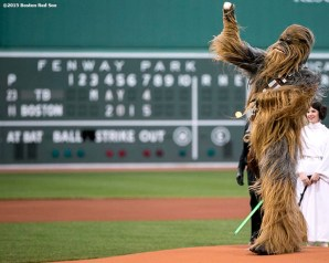 """""""Chewbacca throws out the ceremonial first pitch during Star Wars Night at Fenway Park in Boston, Massachusetts Monday, May 4, 2015."""""""