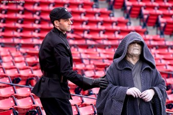 """""""Star Wars characters during Star Wars Night at Fenway Park in Boston, Massachusetts Monday, May 4, 2015."""""""