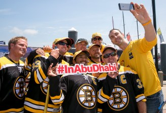 NEWPORT, RI - MAY 16: In this handout image provided by the Volvo Ocean Race, Boston Bruins defenseman Zdeno Chara poses for a photograph with the Abu Dhabi Race Team during the Newport In-Port Race ahead of Leg 7 from Newport to Lisbon on May 16, 2015 in Newport, Rhodes Island. The Volvo Ocean Race 2014-15 is the 12th running of this ocean marathon. Starting from Alicante in Spain on October 04, 2014, the route, spanning some 39,379 nautical miles, visits 11 ports in eleven countries (Spain, South Africa, United Arab Emirates, China, New Zealand, Brazil, United States, Portugal, France, The Netherlands and Sweden) over nine months. The Volvo Ocean Race is the world's premier ocean yacht race for professional racing crews. (Photo by Billie Weiss / Volvo Ocean Race via Getty Images)