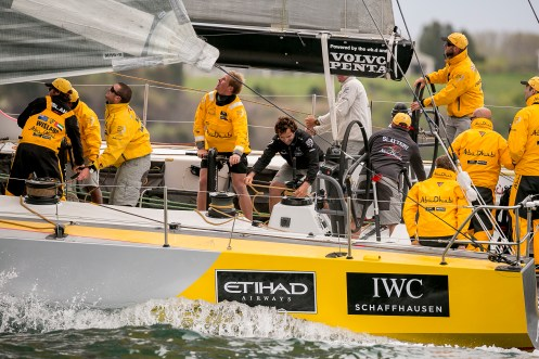 NEWPORT, RI - MAY 16: In this handout image provided by the Volvo Ocean Race, members of the Abu Dhabi crew are shown racing during the Newport In-Port Race ahead of Leg 7 from Newport to Lisbon on May 16, 2015 in Newport, Rhodes Island. The Volvo Ocean Race 2014-15 is the 12th running of this ocean marathon. Starting from Alicante in Spain on October 04, 2014, the route, spanning some 39,379 nautical miles, visits 11 ports in eleven countries (Spain, South Africa, United Arab Emirates, China, New Zealand, Brazil, United States, Portugal, France, The Netherlands and Sweden) over nine months. The Volvo Ocean Race is the world's premier ocean yacht race for professional racing crews. (Photo by Billie Weiss / Volvo Ocean Race via Getty Images)
