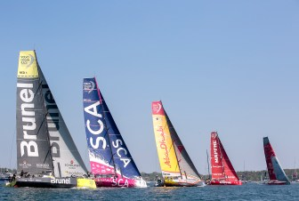 NEWPORT, RI - MAY 17: In this handout image provided by the Volvo Ocean Race, boats are shown racing during the start of Leg 7 from Newport to Lisbon on May 17, 2015 in Newport, Rhode Island. The Volvo Ocean Race 2014-15 is the 12th running of this ocean marathon. Starting from Alicante in Spain on October 11, 2014, the route, spanning some 39,379 nautical miles, visits 11 ports in eleven countries (Spain, South Africa, United Arab Emirates, China, New Zealand, Brazil, United States, Portugal, France, The Netherlands and Sweden) over nine months. The Volvo Ocean Race is the world's premier ocean yacht race for professional racing crews. (Photo by Billie Weiss / Volvo Ocean Race via Getty Images)