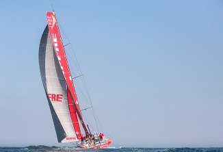 NEWPORT, RI - MAY 17: In this handout image provided by the Volvo Ocean Race, the Mapfre boat is shown racing during the start of Leg 7 from Newport to Lisbon on May 17, 2015 in Newport, Rhode Island. The Volvo Ocean Race 2014-15 is the 12th running of this ocean marathon. Starting from Alicante in Spain on October 11, 2014, the route, spanning some 39,379 nautical miles, visits 11 ports in eleven countries (Spain, South Africa, United Arab Emirates, China, New Zealand, Brazil, United States, Portugal, France, The Netherlands and Sweden) over nine months. The Volvo Ocean Race is the world's premier ocean yacht race for professional racing crews. (Photo by Billie Weiss / Volvo Ocean Race via Getty Images)