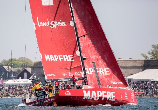 NEWPORT, RI - MAY 17: In this handout image provided by the Volvo Ocean Race, the Mapfre boat is shown during the start of Leg 7 from Newport to Lisbon on May 17, 2015 in Newport, Rhode Island. The Volvo Ocean Race 2014-15 is the 12th running of this ocean marathon. Starting from Alicante in Spain on October 11, 2014, the route, spanning some 39,379 nautical miles, visits 11 ports in eleven countries (Spain, South Africa, United Arab Emirates, China, New Zealand, Brazil, United States, Portugal, France, The Netherlands and Sweden) over nine months. The Volvo Ocean Race is the world's premier ocean yacht race for professional racing crews. (Photo by Billie Weiss / Volvo Ocean Race via Getty Images)