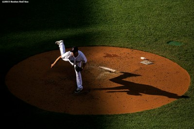 """""""Boston Red Sox pitcher Steven Wright delivers during a game against the Minnesota Twins at Fenway Park in Boston, Massachusetts Thursday, June 4, 2015."""""""