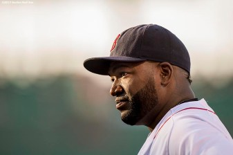 """Boston Red Sox designated hitter David Ortiz looks on before a game against the Baltimore Orioles at Fenway Park in Boston, Massachusetts Wednesday, June 24, 2015."""