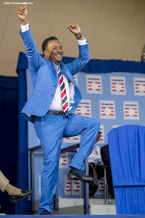 """Hall of Fame class of 2015 inductee Pedro Martinez is introduced during the awards presentation during the 2015 Hall of Fame weekend at the National Baseball Hall of Fame in Cooperstown, New York Sunday, July 26, 2015."""