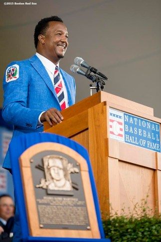 """Hall of Fame class of 2015 inductee Pedro Martinez speaks during the awards presentation during the 2015 Hall of Fame weekend at the National Baseball Hall of Fame in Cooperstown, New York Sunday, July 26, 2015."""