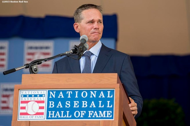 """Class of 2015 Hall of Fame inductee Craig Biggio speaks at the plaque ceremony during the 2015 Hall of Fame weekend at the National Baseball Hall of Fame in Cooperstown, New York Sunday, July 26, 2015."""