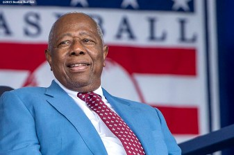 """Hall of Famer Hank Aaron is introduced at the plaque ceremony during the 2015 Hall of Fame weekend at the National Baseball Hall of Fame in Cooperstown, New York Sunday, July 26, 2015."""