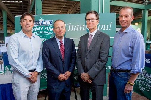 August 19, 2015, Boston, MA: Boston Celtics owner Wyc Grousbeck, New England Patriots and New England Revolution owner Jonathan Kraft, Boston Red Sox owner John Henry, and Boston Bruins owner Charlie Jacobs pose for a group photograph during the WEEI NESN Jimmy Fund Radio-Telethon at Fenway Park in Boston, Massachusetts Wednesday, August 19, 2015. (Photo by Billie Weiss/Boston Red Sox)