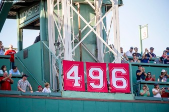 """""""Banners read '496' after Boston Red Sox designated hitter David Ortiz hits a solo home run during the fourth inning of a game against the Philadelphia Phillies at Fenway Park in Boston, Massachusetts Saturday, September 5, 2015. It was home run number 496 of his career."""""""