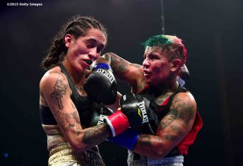 MASHANTUCKET, CT - SEPTEMBER 12: Brittany Cruz and Shelly Vincent during a fight at Foxwoods Resort Casino on September 12, 2015 in Mashantucket, Connecticut. (Photo by Billie Weiss/Getty Images) *** Local Caption *** Brittany Cruz; Shelly Vincent