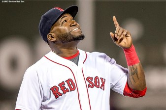 """Boston Red Sox designated hitter David Ortiz reacts during a ceremony recognizing his 500th career home run before a game against the Tampa Bay Rays at Fenway Park in Boston, Massachusetts Monday, September 21, 2015."""